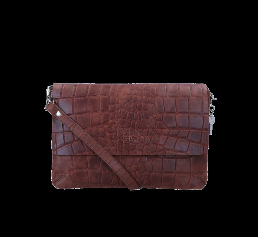 Crossbody Vintage Croco Bruin