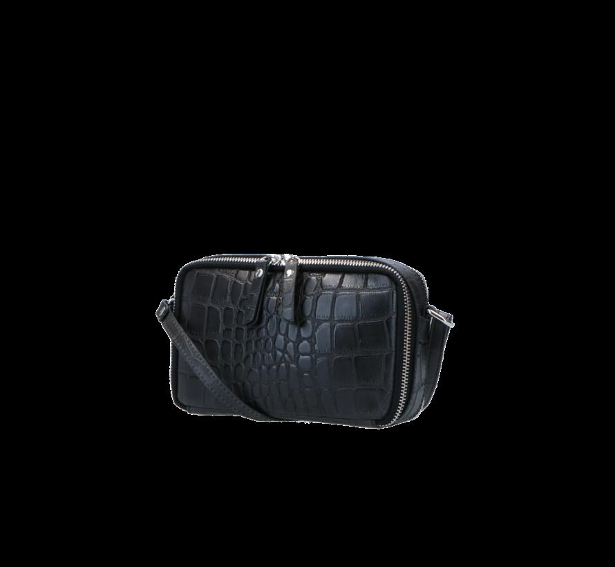 Boxy Crossbody Croco Black