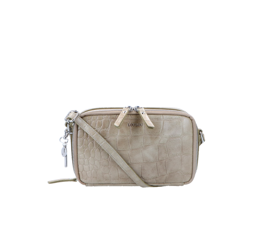 Lou Lou Essentiels Boxy Crossbody Croco Taupe