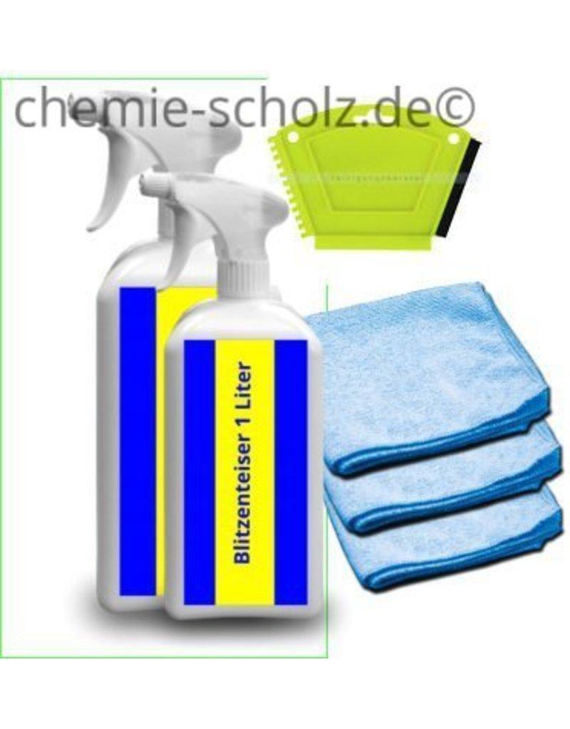 Fatzzo TT Autoscheiben Enteiser Set 2x1 Liter Sprühflasche +3 Mikrofasertücher+1 Eiskratzer