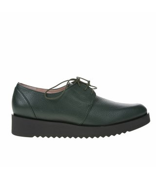 Square Feet dames groen leren dames veterschoen