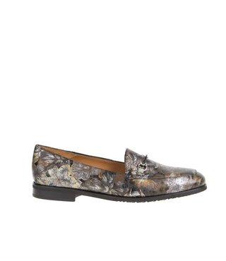 Square Feet dames kaki groen leren loafer met multi colour bloem print