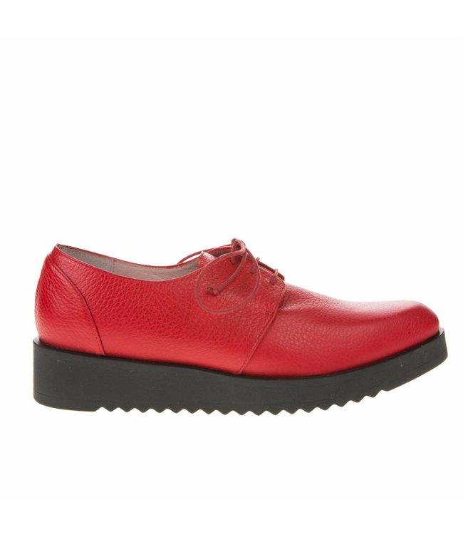Square Feet Square Feet dames rood leren dames veterschoen