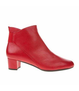 Square Feet dames rood leren enkellaarsje met ritssluiting