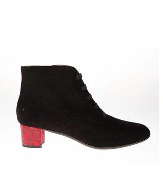 Square Feet dames suède met rode hak enkellaarsje met ritssluiting