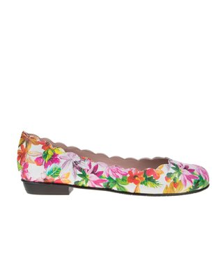 Square Feet dames leren wit met multi colour bloem dessin ballerina