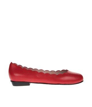 Square Feet dames rood leren ballerina