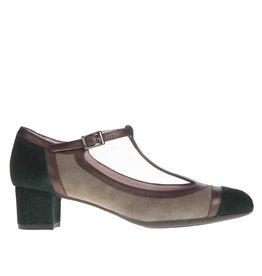 Square Feet Square Feet dames groen met brons suède pump met flexibele zool