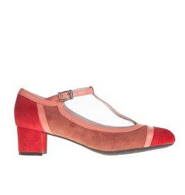 Square Feet Square Feet dames rood met roze suède pump met flexibele zool