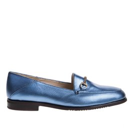 Square Feet Square Feet dames blauw metallic leren loafer
