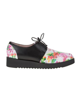 Square Feet Square Feet dames wit bloem dessin leren dames veterschoen