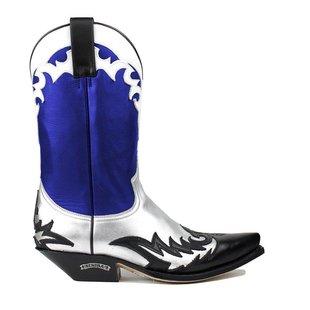 Sendra dames cowboy laars blauw leer