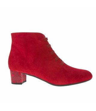 Square Feet dames rood suède enkellaarsje met ritssluiting