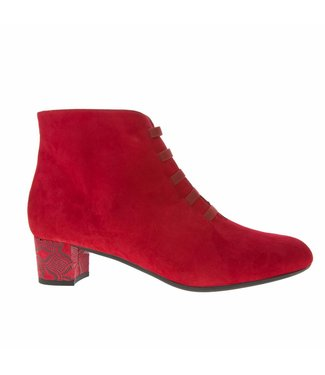 Square Feet Square Feet ladies red suede ankle boot with zipper