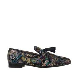 Pedro Miralles Pedro Miralles dames blauwe dames loafer met multi colour bloem design