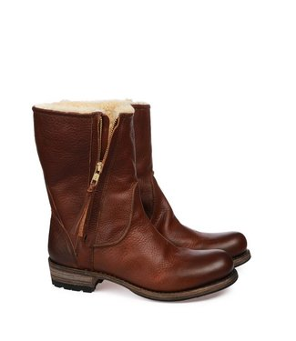 Blackstone Blackstone ladies brown leather women's boots mid-high zip