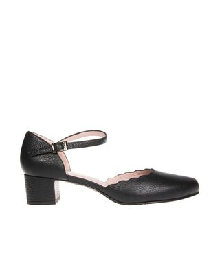 Square Feet dames zwart leren pumps enkelbandje