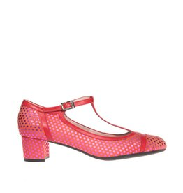 Square Feet Square Feet dames rood suède t-band pumps met roze metallic nopjes