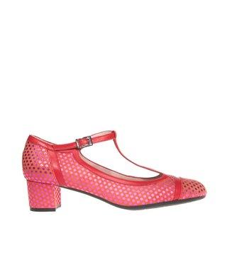 Square Feet dames rood suède t-band pumps met roze metallic nopjes