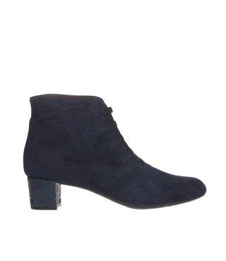 Square Feet dames donker blauw suède enkellaarsje met ritssluiting