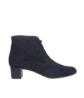 Square Feet Square Feet dames donker blauw suède enkellaarsje met ritssluiting