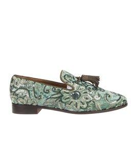 Pedro Miralles Pedro Miralles dames groene dames loafer met bloem design