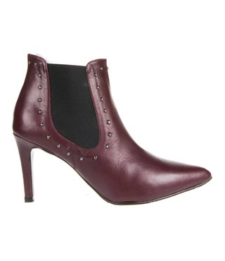 Square Feet dames bordeaux leren enkel laarsje