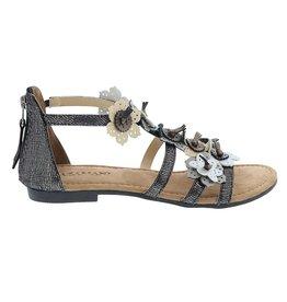 Lazamani Lazamani dames grijs leren sandaal