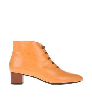 Square Feet dames oranje leren enkellaarsje met ritssluiting