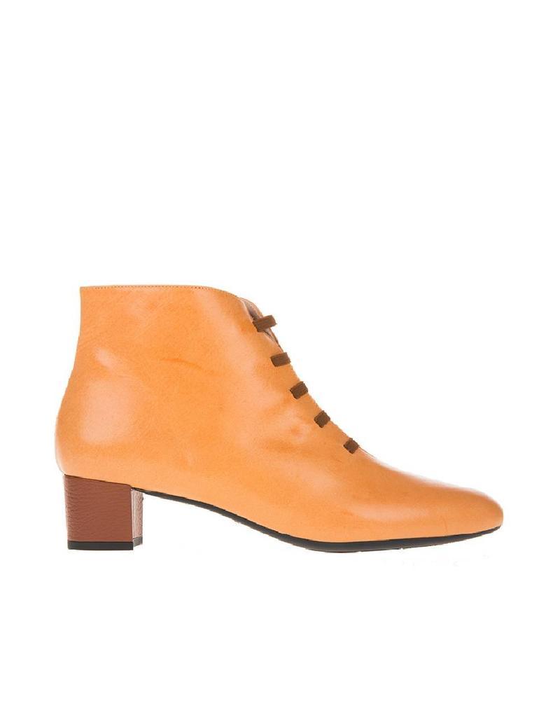 Square Feet Square Feet dames Amberkleurig leren enkellaarsje met ritssluiting