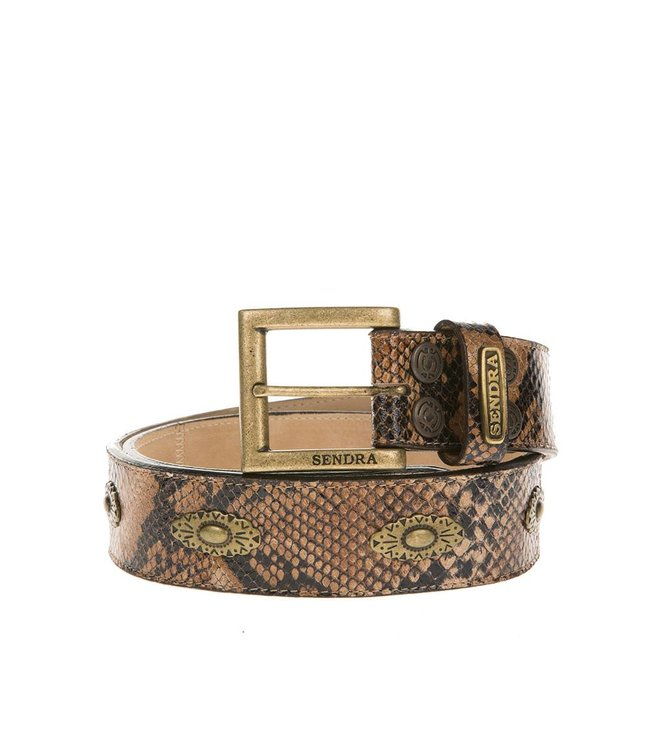 Sendra Sendra Belt brown leather snake print