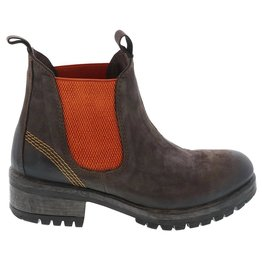 Lazamani Lazamani dames donker bruin nubuck leren chelsea boots