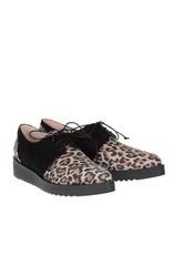 Square Feet Square Feet dames suède veterschoen met luipaard print