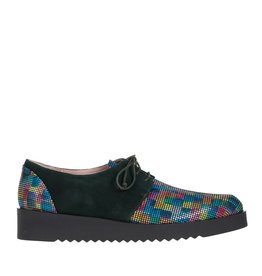 Square Feet Square Feet dames groen suède met multi colour print dames veterschoen