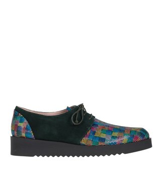 Square Feet dames groen suède met multi colour print dames veterschoen