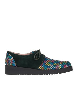 Square Feet Square Feet Ladies green suede with multicolour print women's lace-up shoe