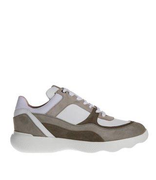 Unisa dames sneaker leer wit met taupe