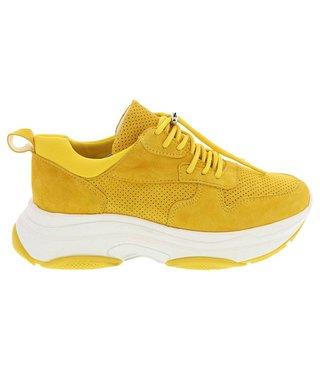 Lazamani dames sneaker geel suède