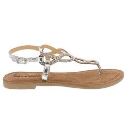 Lazamani Lazamani dames sandaal zilver met strass steentjes