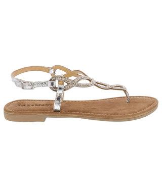 Lazamani dames sandaal zilver met strass steentjes