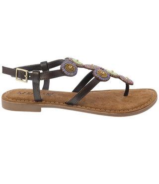 Lazamani dames sandaal bruin met steentjes
