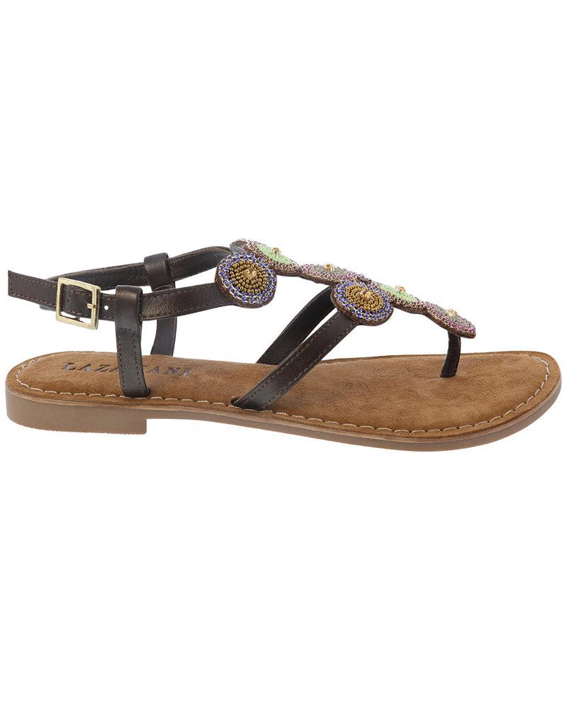 Lazamani Lazamani dames sandaal bruin met steentjes