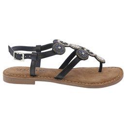 Lazamani Lazamani dames sandaal zwart met steentjes