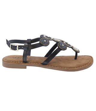 Lazamani dames sandaal zwart met steentjes