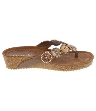 Lazamani dames sandaal beige met kraaltjes