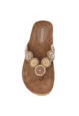 Lazamani Lazamani dames sandaal beige met kraaltjes