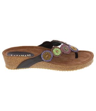 Lazamani dames sandaal bruin met kraaltjes