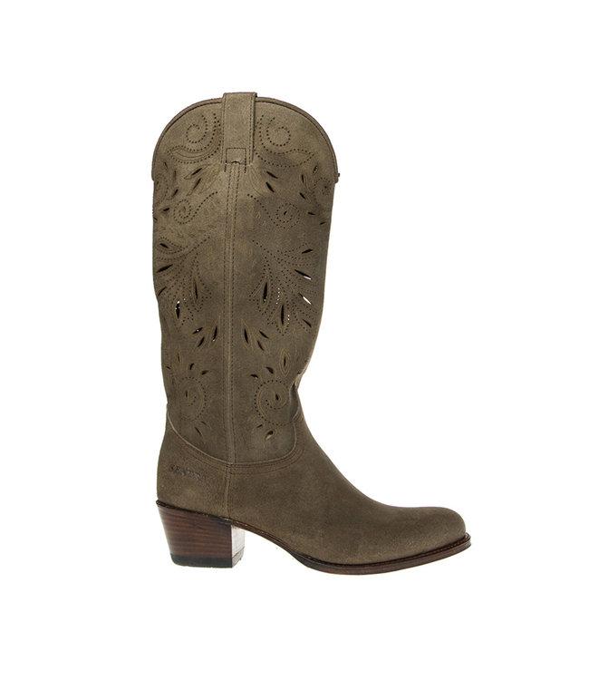 Sendra Sendra cowboy ladies boot perforations taupe