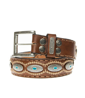 Sendra Sendra Belt 7608 cognac leather with turquoise