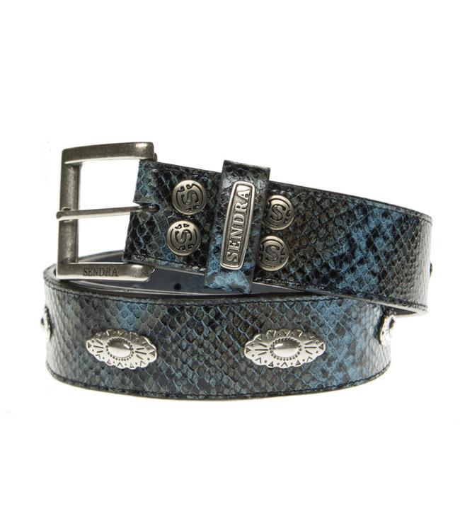 Sendra Sendra Belt leather snake print blue